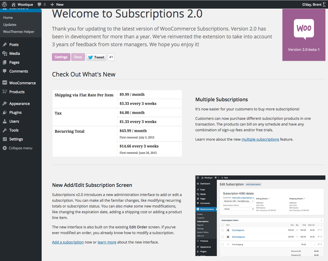 Subscriptions v2.0 Welcome Screen