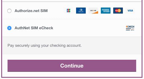 WooCommerce Authorize.net SIM echeck form