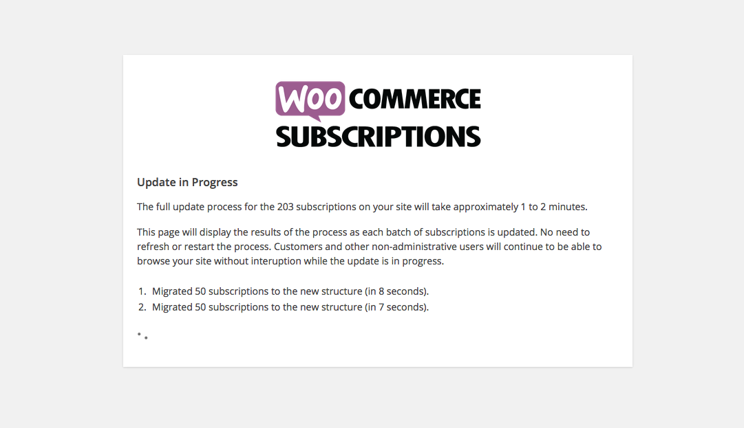 WooCommerce Subscriptions Database Upgrade Process
