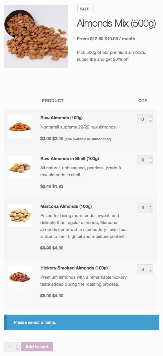 A pick 'n mix almonds subscription created with Product Bundles.