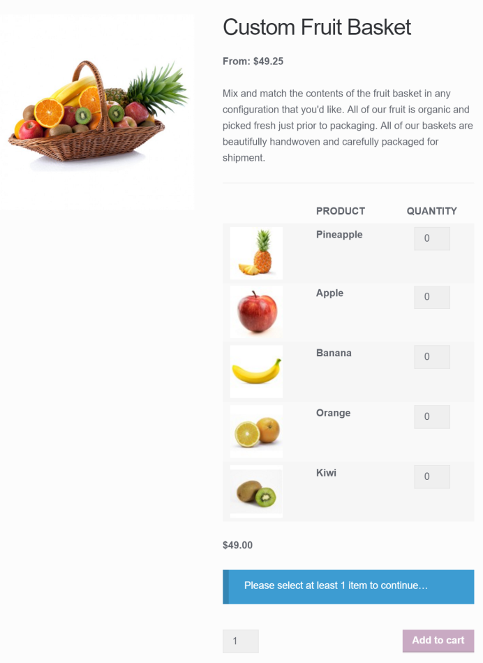 Mix and Match fruit basket with per-item pricing and base price