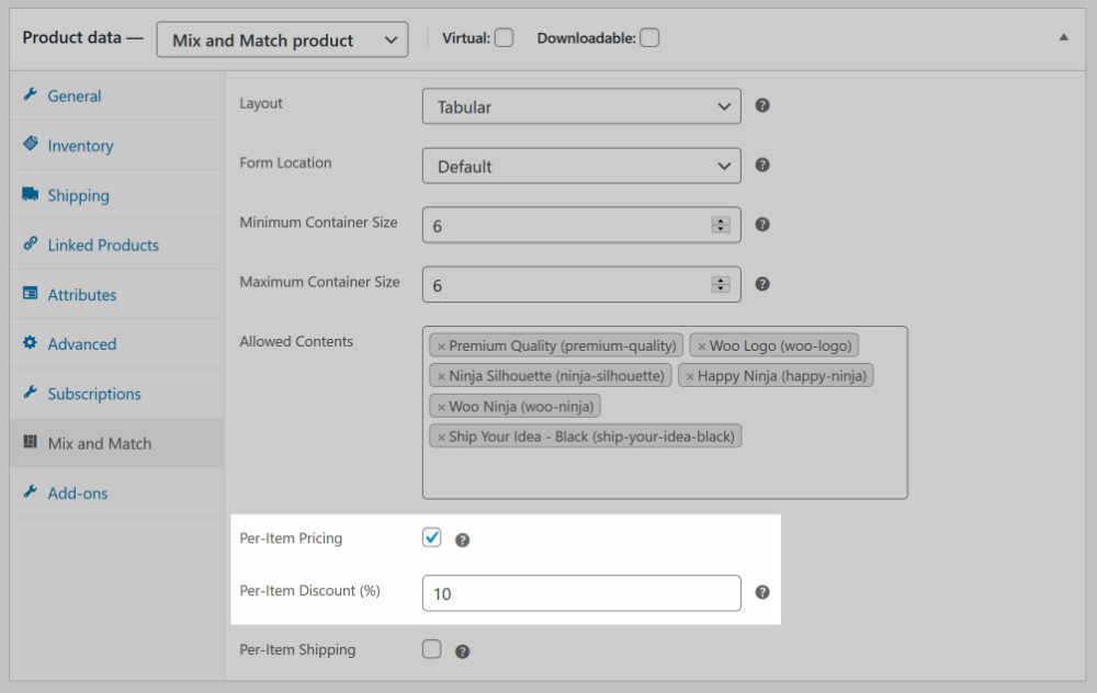 WooCommerce Mix and Match product discount configuration inputs in admin product meta box