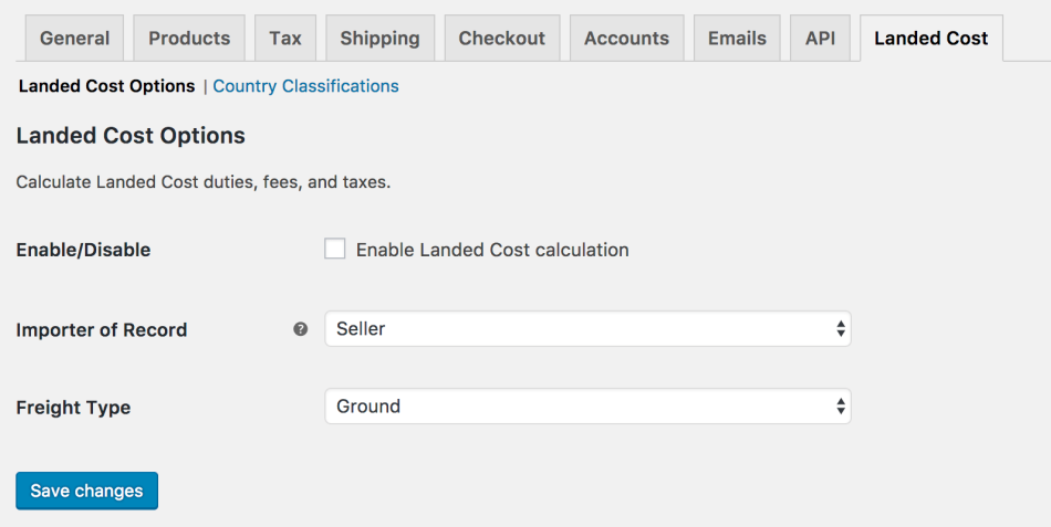 WooCommerce AvaTax: Landed Cost Settings