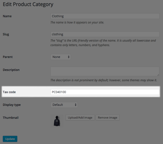 WooCommerce AvaTax category tax code