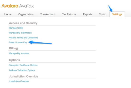 WooCommerce AvaTax reset license key