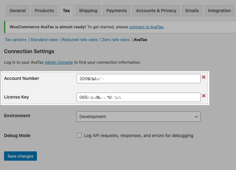 Updating your connection settings in the WooCommerce AvaTax plugin.