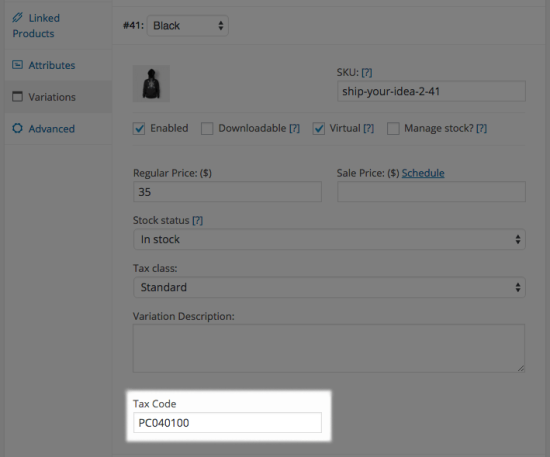 WooCommerce AvaTax set variation tax code