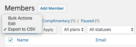 WooCommerce Memberships Export Bulk Action