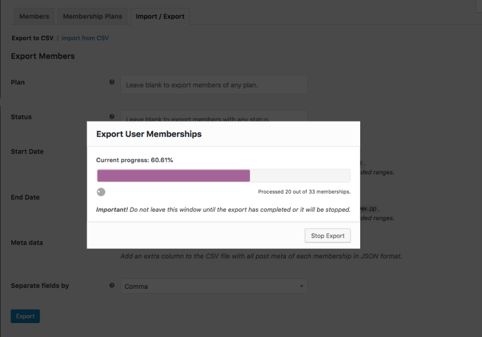 WooCommerce Memberships: export in progress