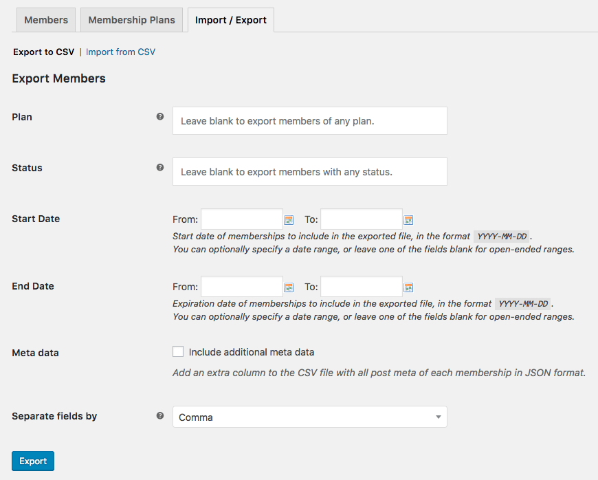 WooCommerce Memberships: Export settings