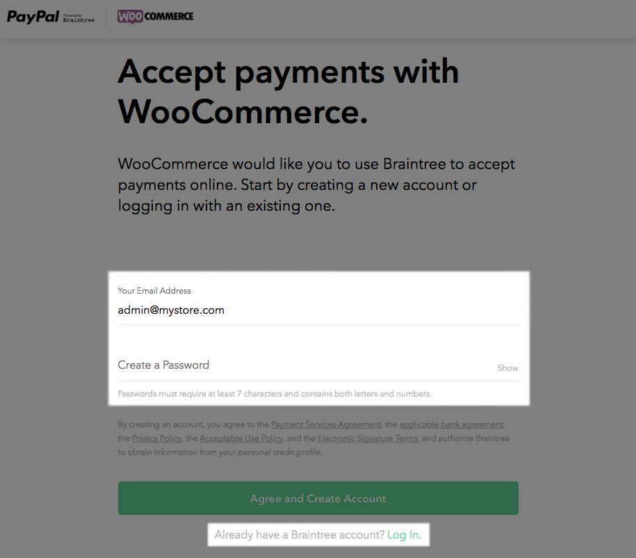 WooCommerce PayPal Powered by Braintree connect step 1