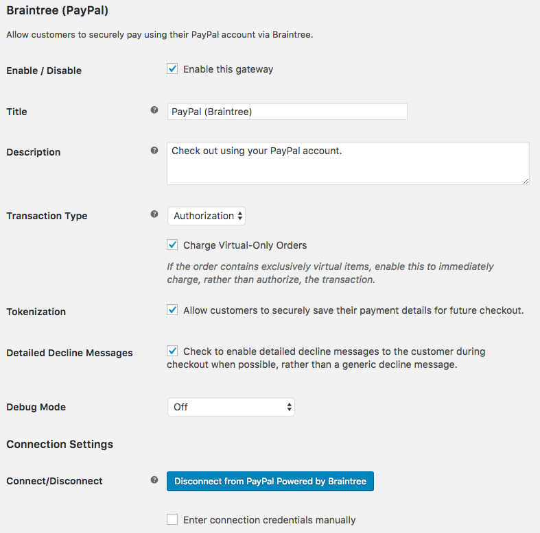 WooCommerce PayPal Powered by Braintree PayPal settings