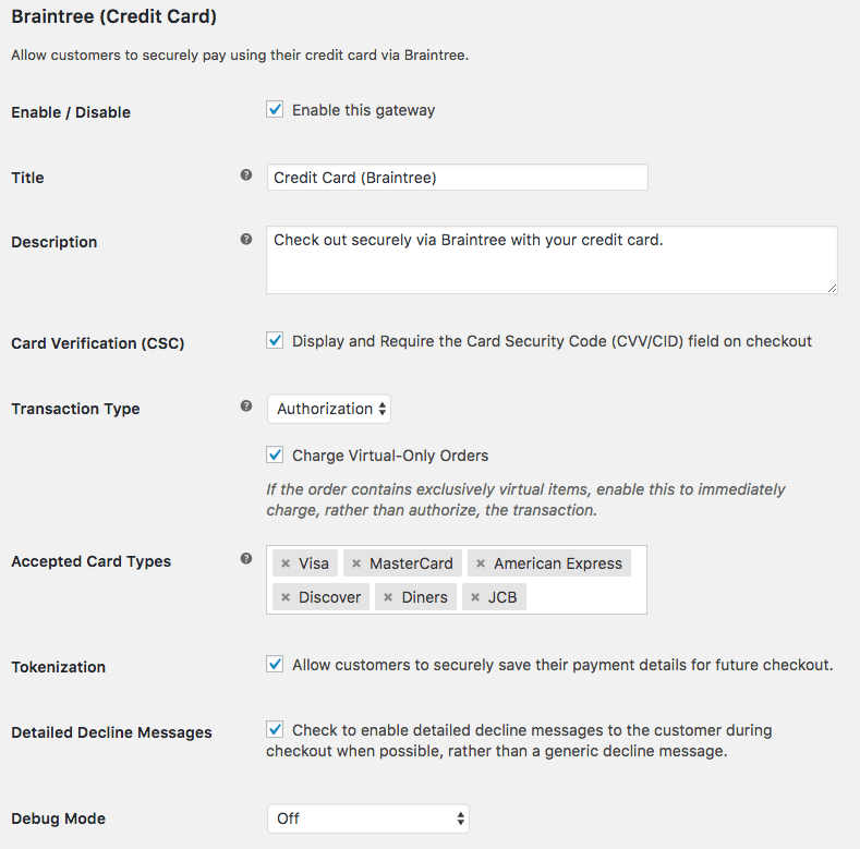 WooCommerce PayPal Powered by Braintree credit card settings 1