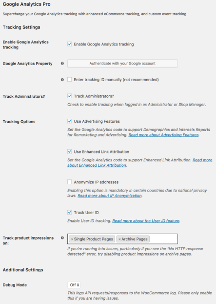 WooCommerce Google Analytics: General Settings