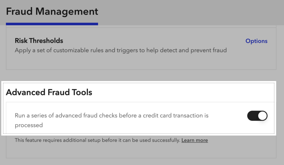 Enabling Advanced Fraud Tools in the Braintree control panel