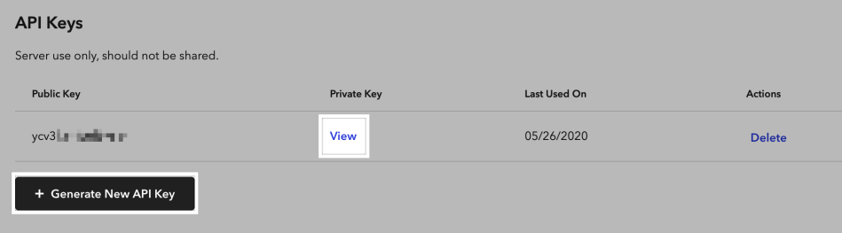 Viewing or generating API keys in the Braintree control panel