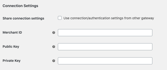 Connection settings in the Braintree plugin