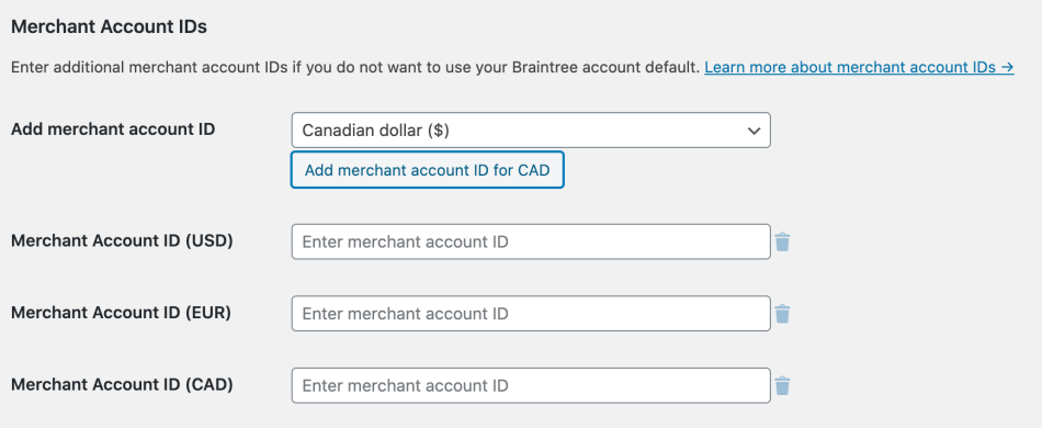 Adding multiple account IDs in the Braintree plugin settings