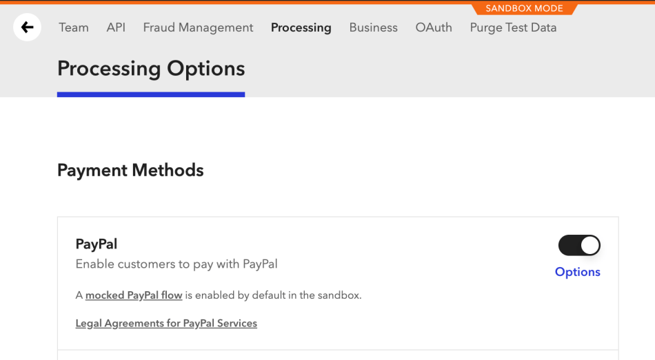 Enabling PayPal in the Braintree control panel