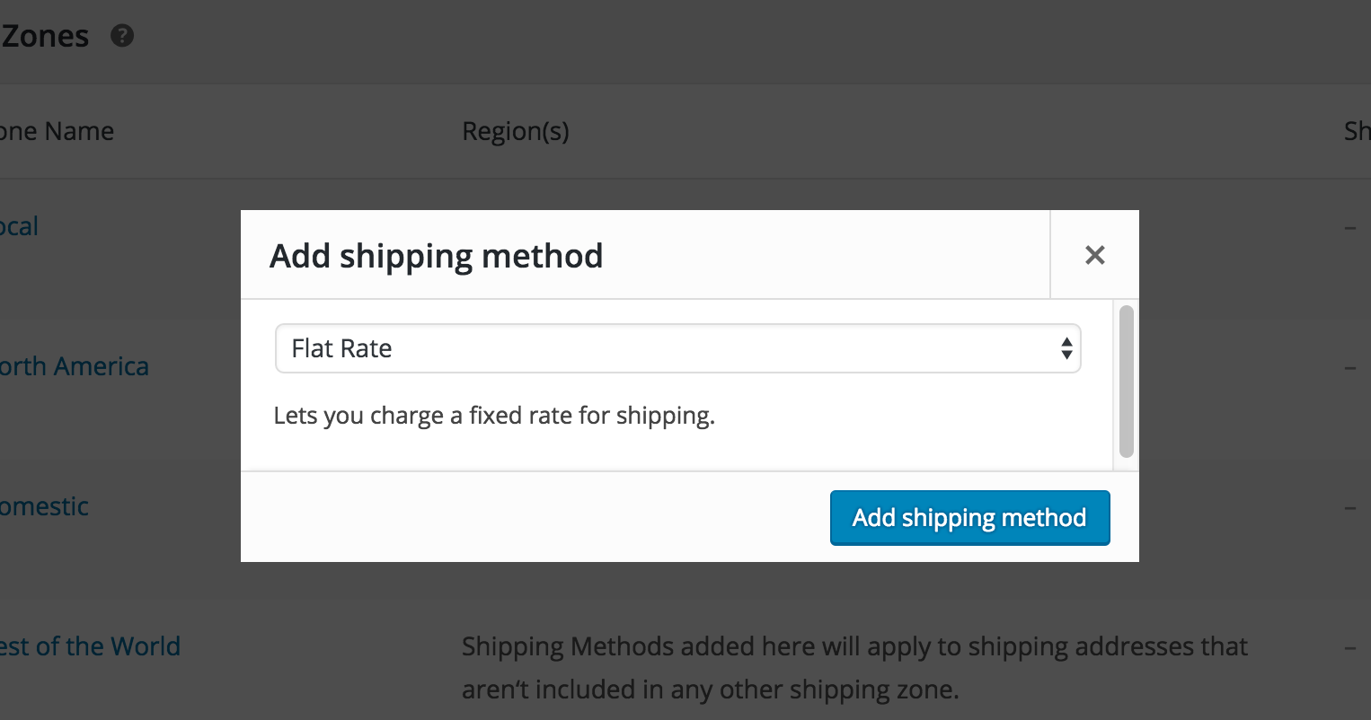 shipping method modal