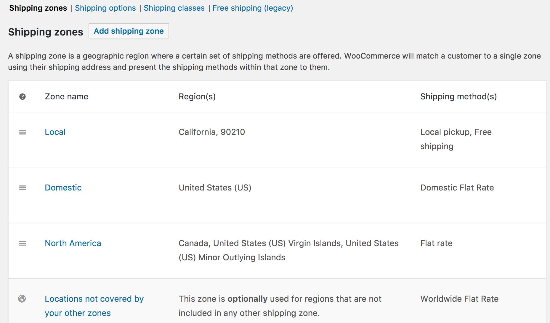 Setting up Shipping Zones - WooCommerce Docs