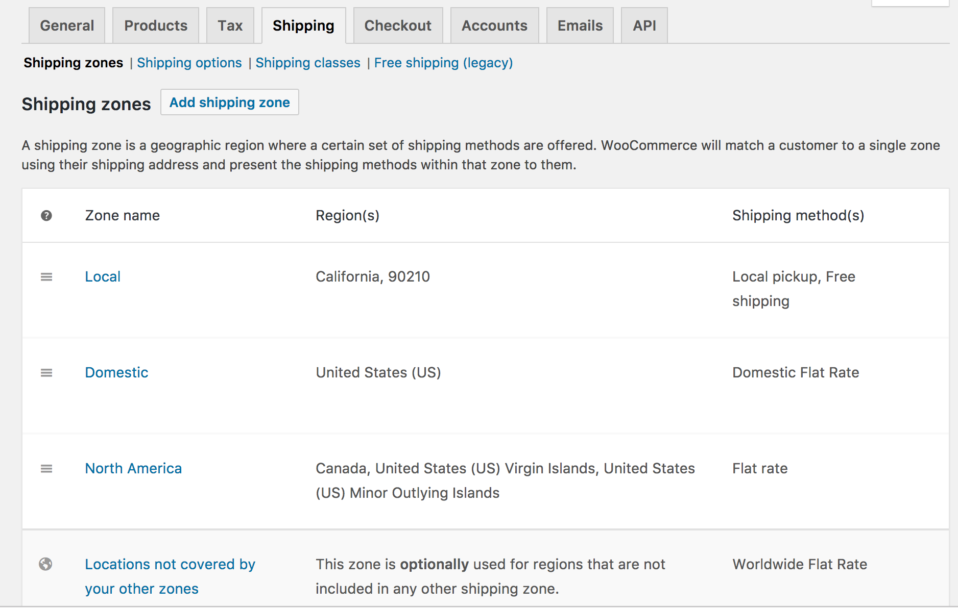 Setting Up Shipping Zones WooCommerce Docs - Us zip code regions