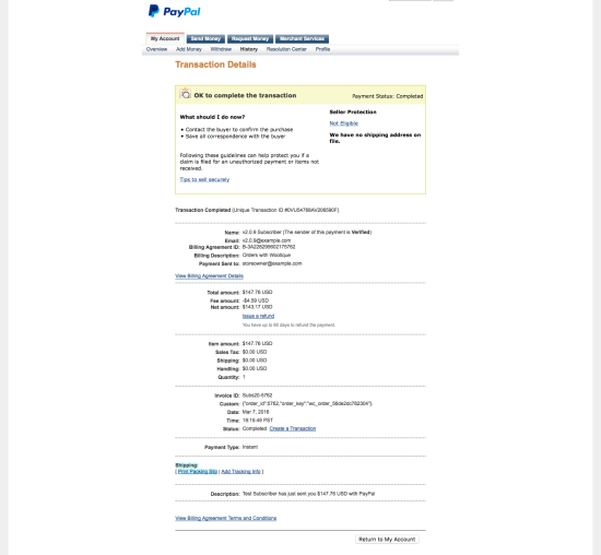 PayPal Initial Payment Transaction Details with Subscriptions 2.0.9: No line items are displayed, but billing agreement details are included