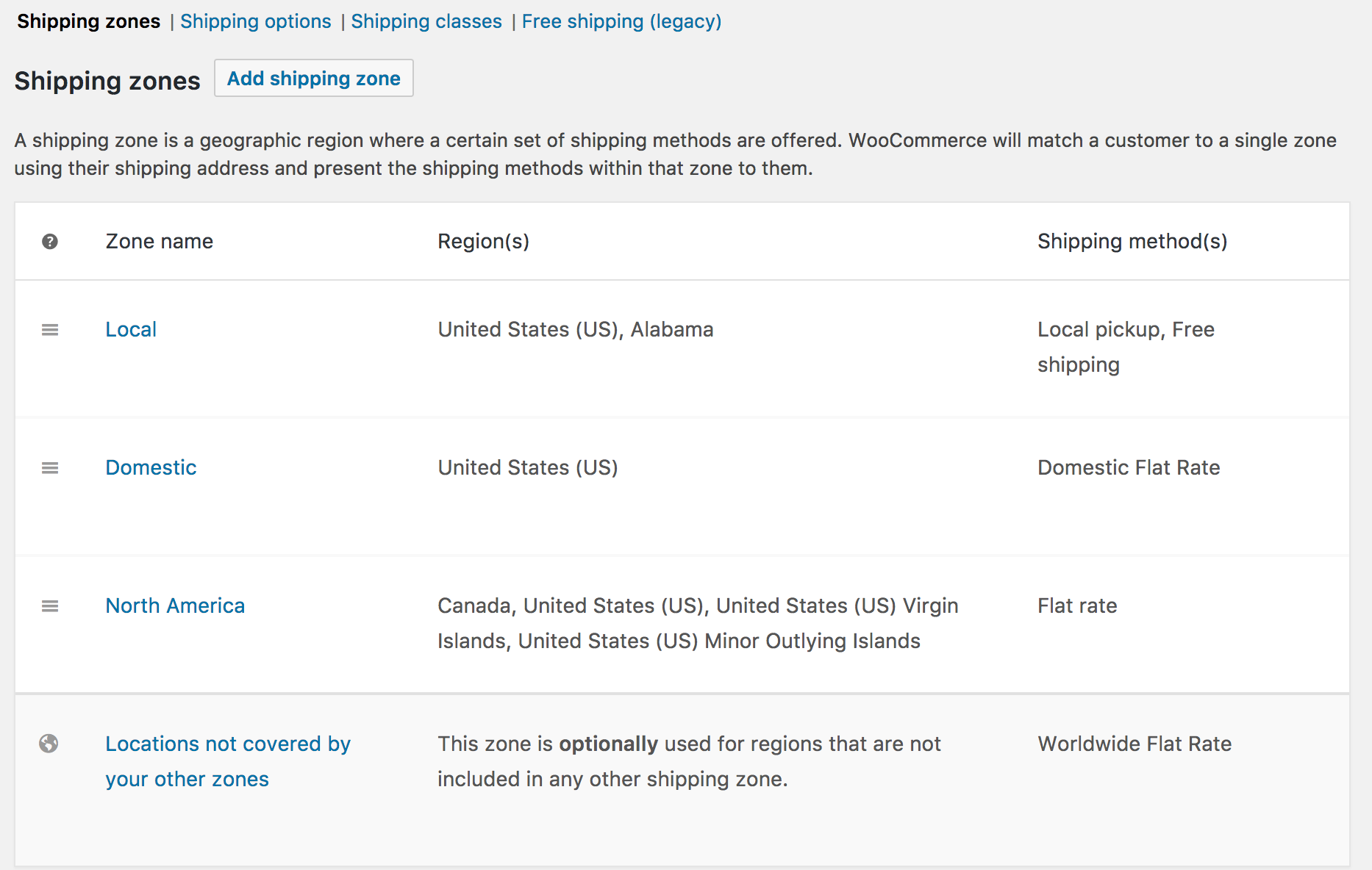 Setting up Shipping Zones - WooCommerce Docs