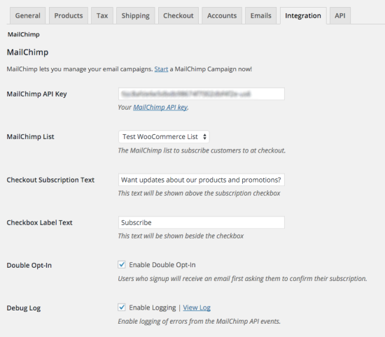Once you've entered your MailChimp API key, more settings appear.