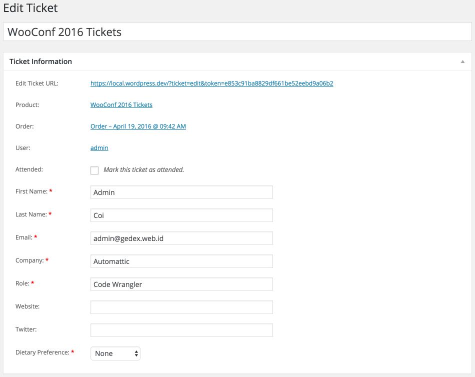 Edit ticket in admin dashboard