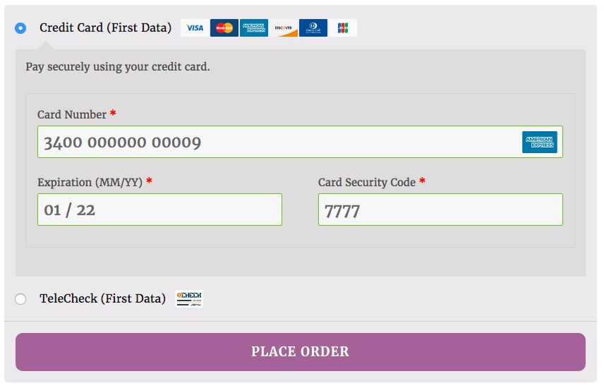 WooCommerce First Data enhanced checkout form