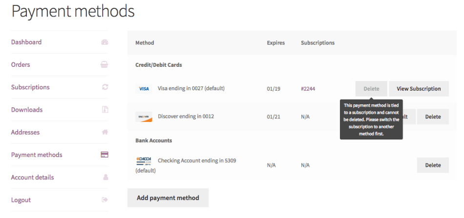 "WooCommerce SkyVerge gateway ""My Payment Methods"" with Subscriptions active"