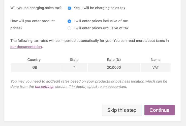 WooCommerce Setup Wizard - Sales Tax setup