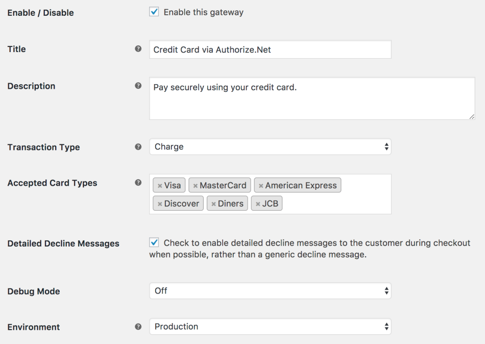 WooCommerce AuthNet Accept Hosted general settings