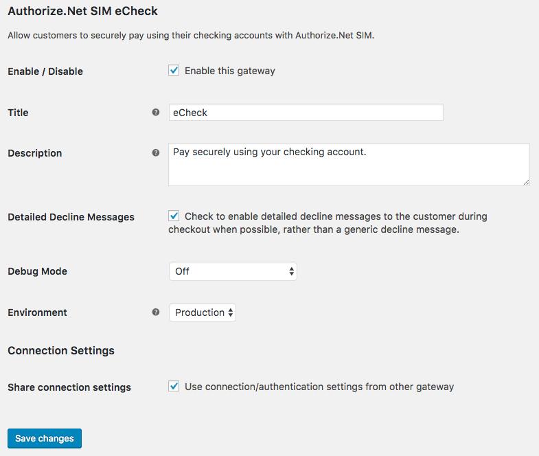 WooCommerce Authorize.Net SIM eCheck Settings