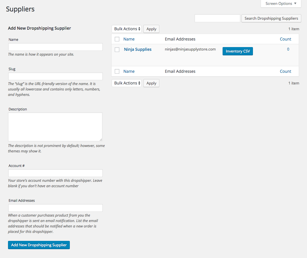 "Manage your suppliers from the ""Products > Suppliers"" screen."