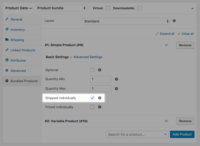 Configuring a bundled product to be Shipped Individually.