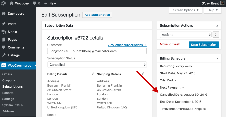 Cancellation Date on Edit Subscription Screen