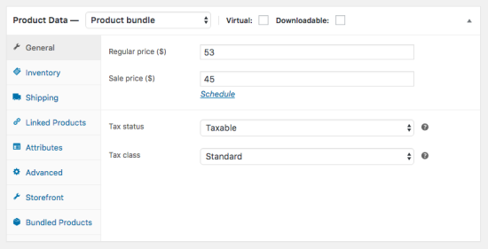 Assigning a static price to the bundle.