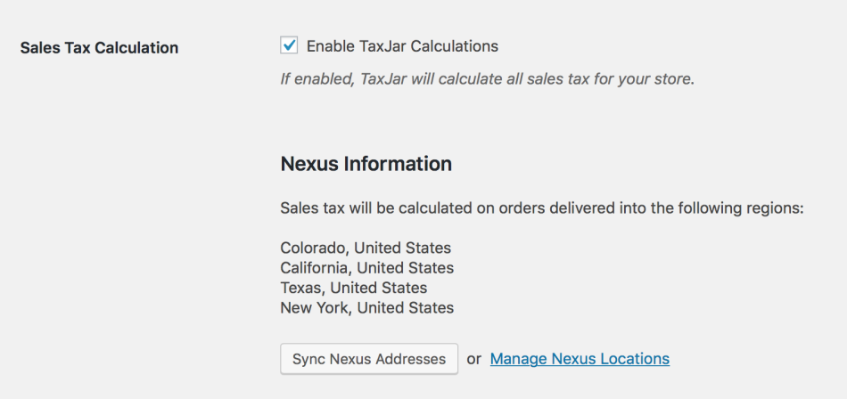 TaxJar Nexus Addresses