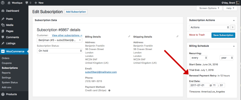 Retry Date on Edit Subscription administration screen