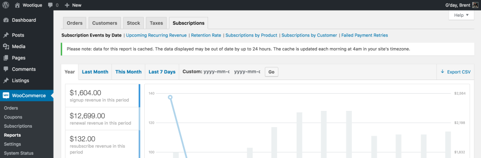 Subscriptions Reports Cache Update Notice