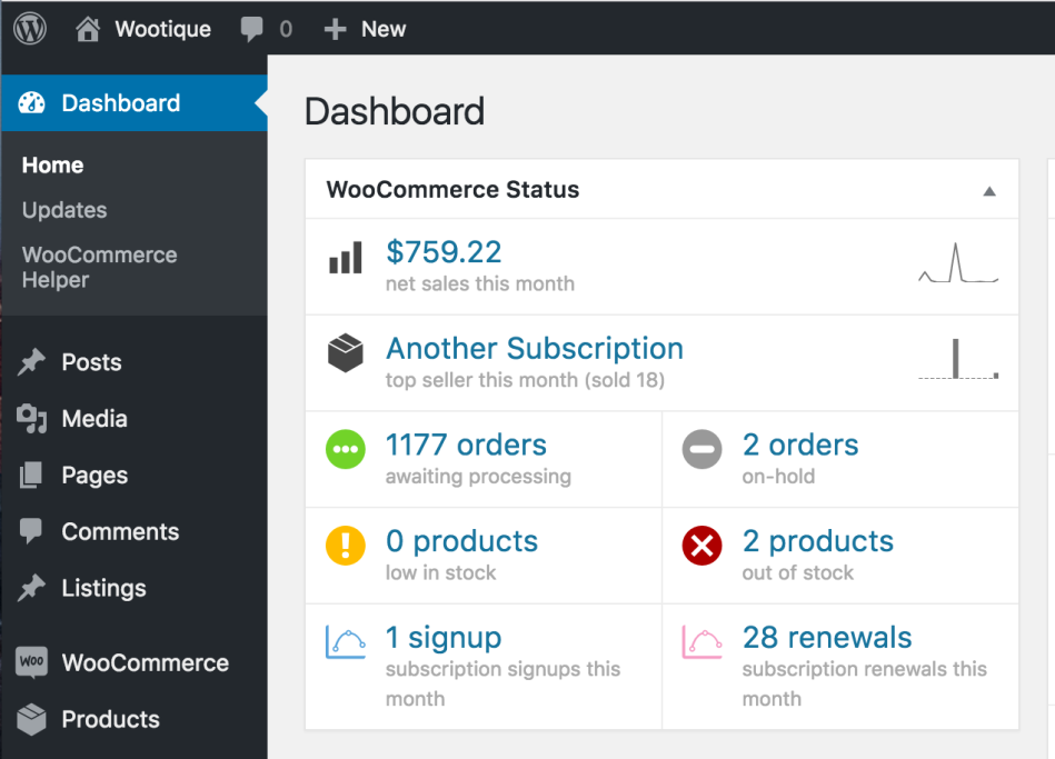 WooCommerce Status Widget with Subscription Signups and Renewals
