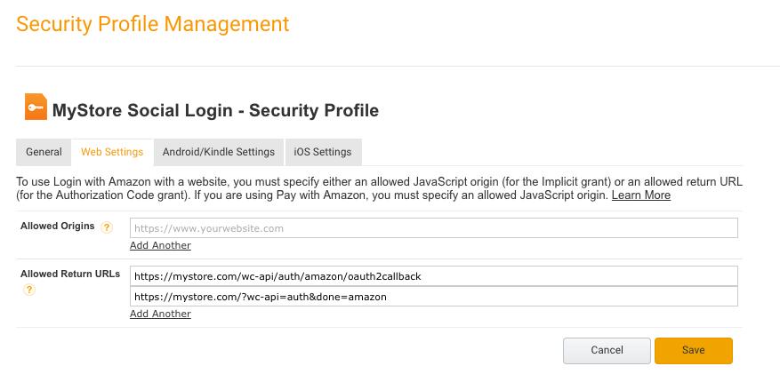 Social Login - Amazon: New URL