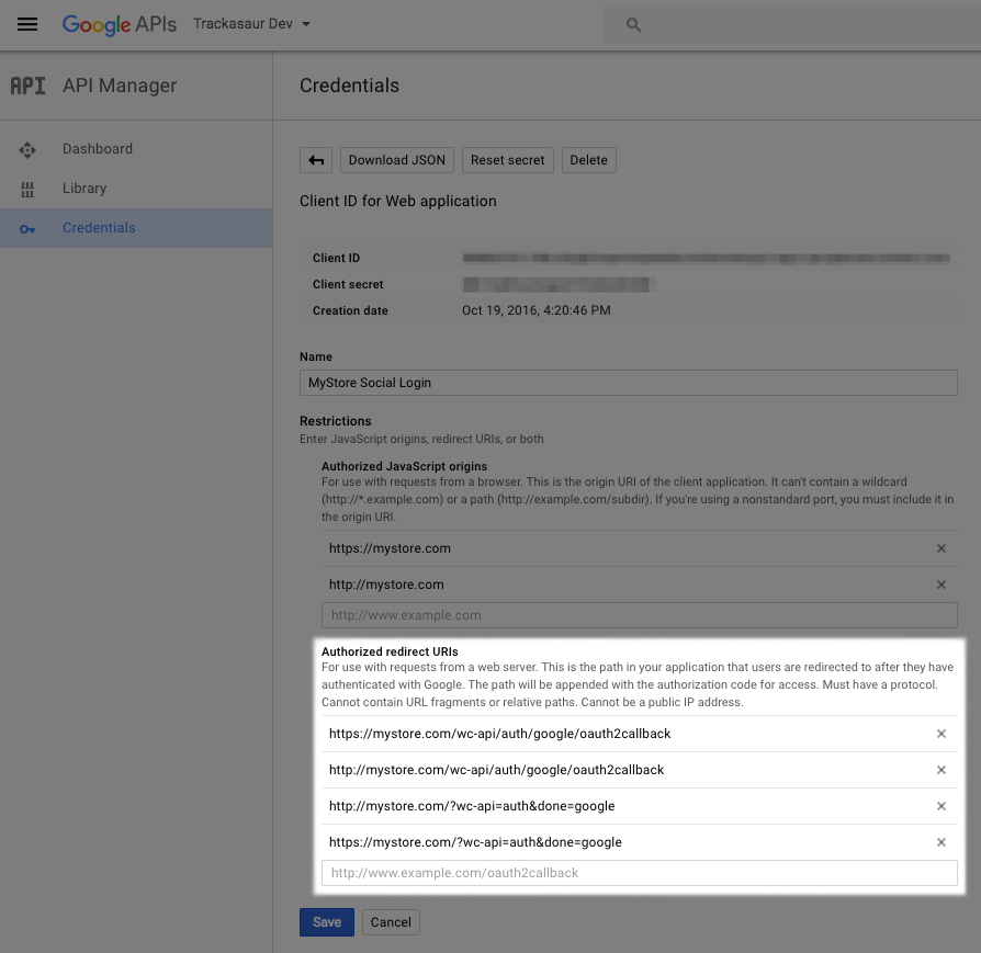 Social Login Google: New URL