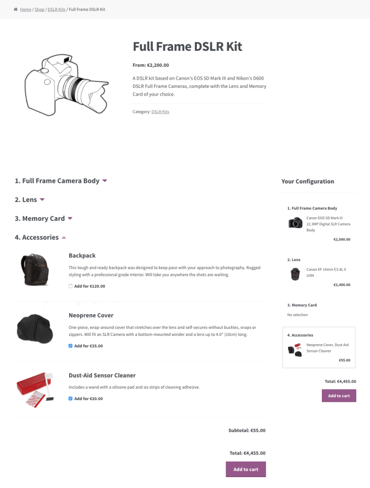 Accessories Component with multiple optional items.