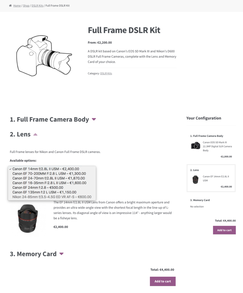 Incompatible Lens options are greyed-out.