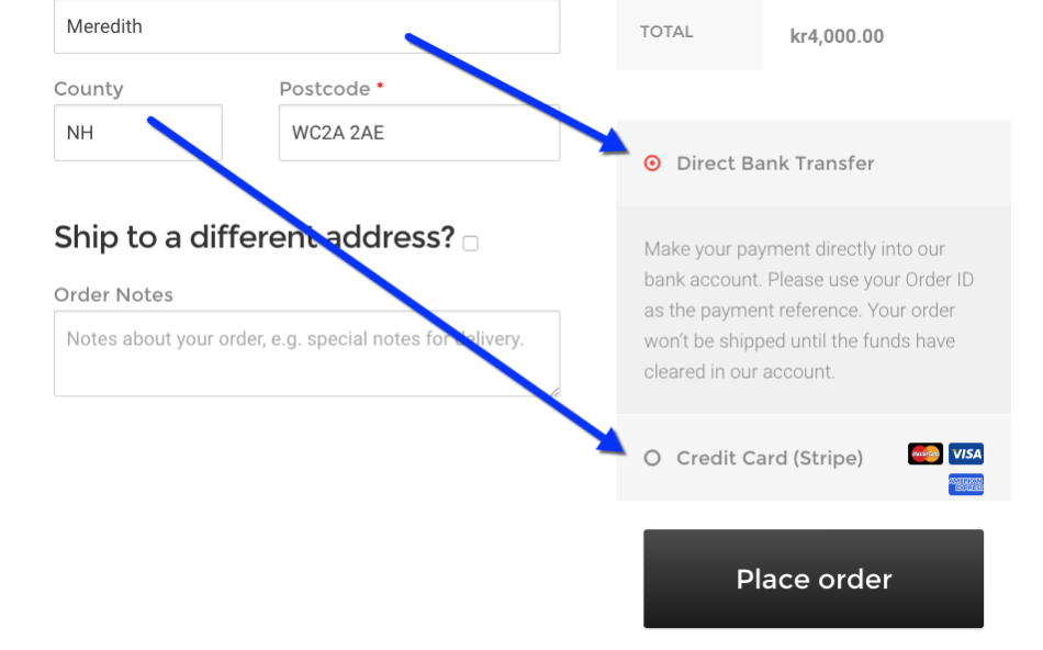 Example payment gateways