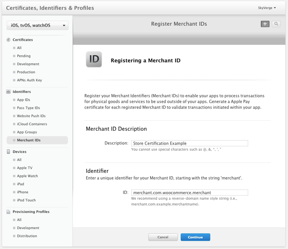 WooCommerce Apple Pay: Register Merchant ID
