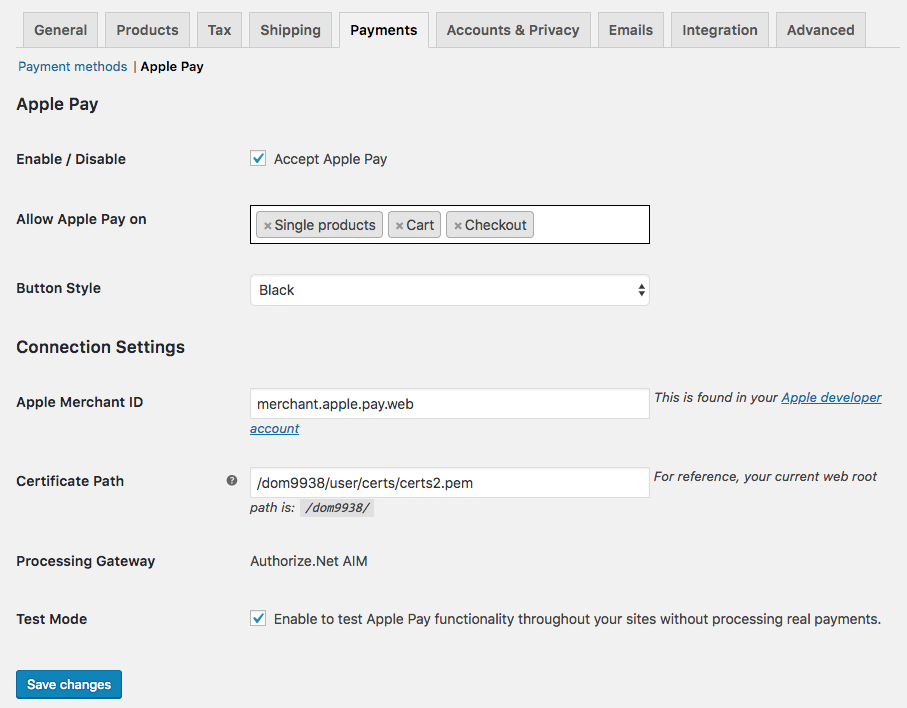 WooCommerce Apple Pay: plugin settings